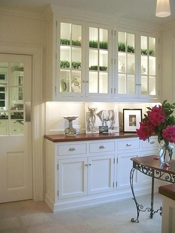 Butler's Pantry Renovation- Love the lighted cabinets with glass doors