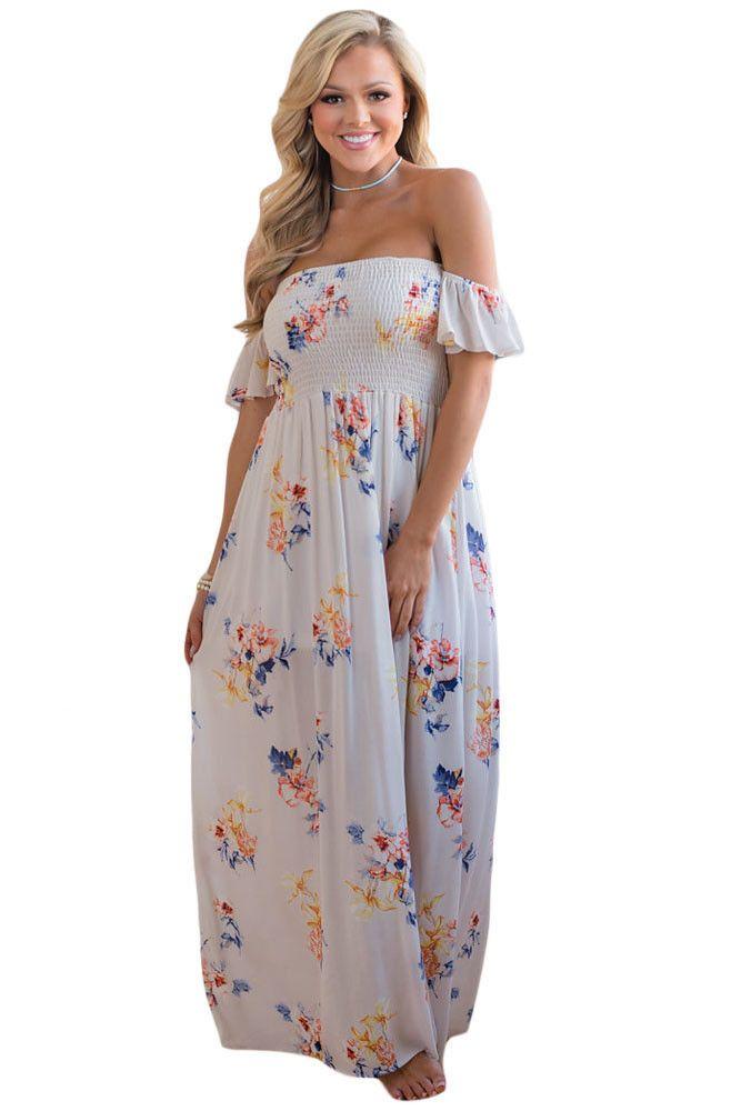 Chicloth White Floral Print Elastic Bandeau Top Off Shoulder Boho Maxi Dress