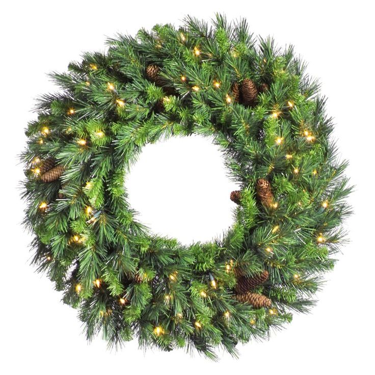 42 in. Cheyenne Pine Pre-lit Christmas Wreath with Cones - A801043
