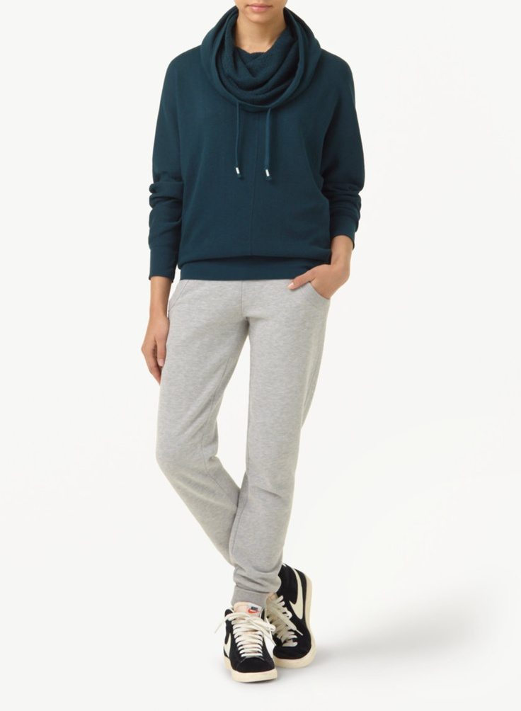 TNA CLIFTON SWEATER - A feminine, drapey spin on the hoodie in soft, loose-knit terry