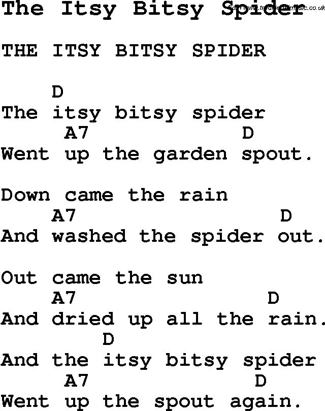 Summer-Camp Song, The Itsy Bitsy Spider, with lyrics and chords for Ukulele, Guitar Banjo etc.