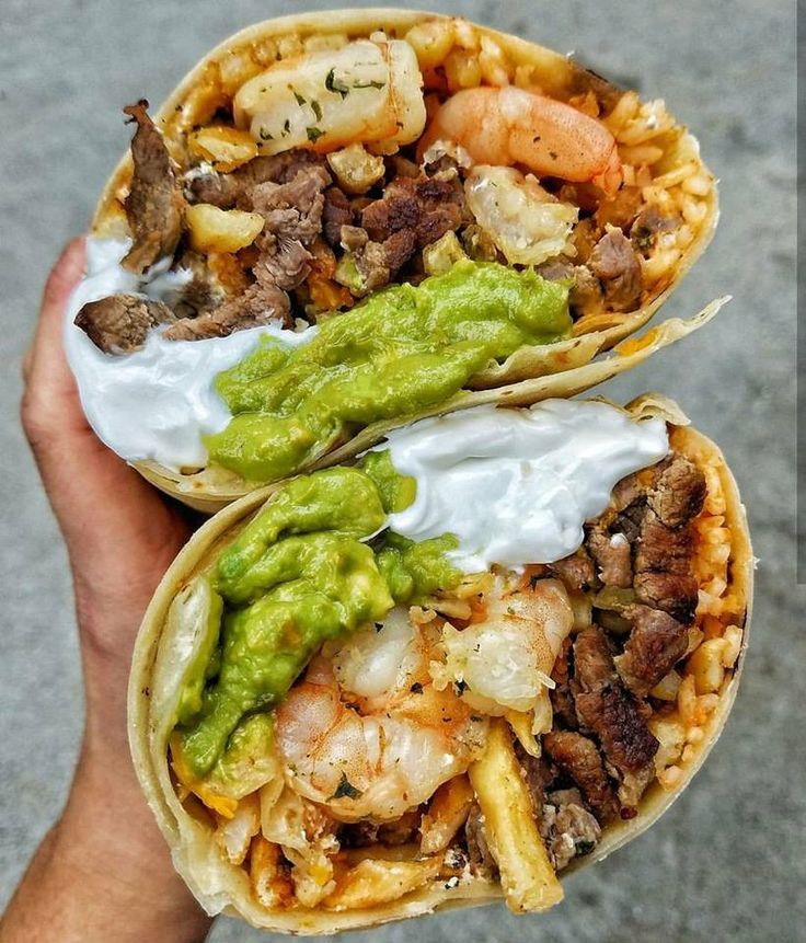 California Burrito: Carne Asada Steak, Sauteed Shrimp, Crispy French Fries, Guacamole, Sour Cream and Spanish Rice
