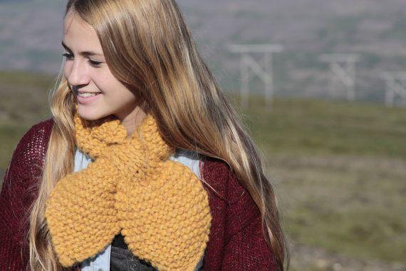 Bow tie scarf warm chunky Icelandic wool scarf by aggaphoto, $25.00