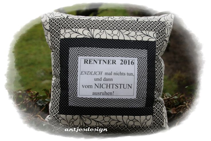 Lustiges Rentner Retro Kissen mit Spruch Text von Antjes Design auf DaWanda.com