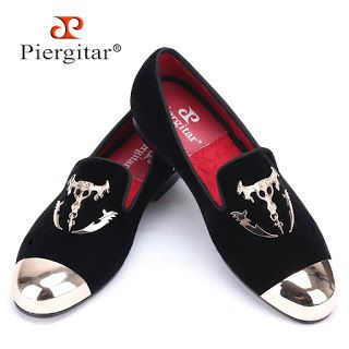 Piergitar men black velvet shoes with skull buckle and gold toe British style men loafers luxurious men dress shoes mens flats (32556358858)  SEE MORE  #SuperDeals