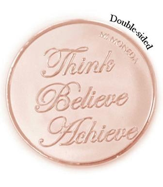 Mi Moneda Large Rose Gold Plated Blessed / Believe Coin from Michael Jones Jeweller