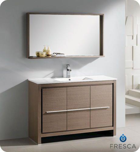 """Fresca Allier 48"""" Gray Oak Modern Bathroom Vanity w ..."""