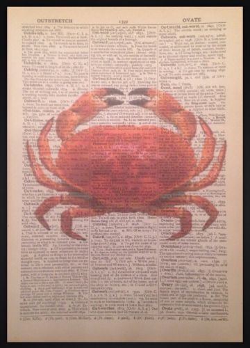 Crab #print #picture vintage dictionary art nautical sea maritime #beach seaside,  View more on the LINK: http://www.zeppy.io/product/gb/2/291474971038/