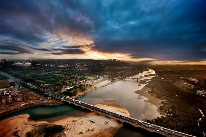 Durban - Amazing picture of the Umgeni River, with the Moses Mabhida Stadium in the far left...