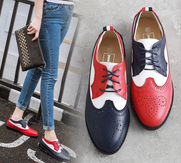 Vogue Womens Two Tone Brogue Shoes Lace Up British Oxfords Preppy Style Q818
