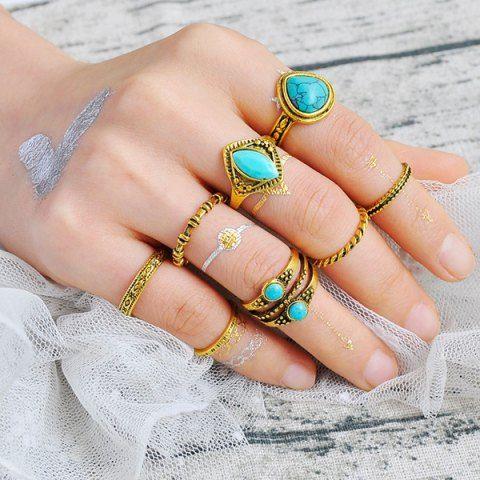 Faux Turquoise Geometric Teardrop Gypsy Ring Set - GOLDEN