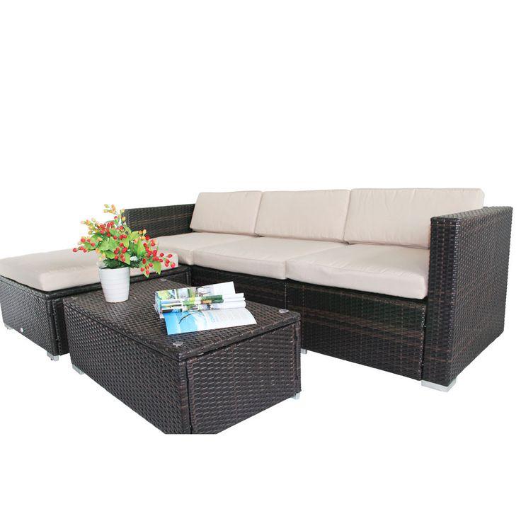 rattan garden wicker furniture thick cushion