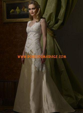 Birnbaum et Bullock belle robe de mariée glamour champagne avec bretelles taffetas Style Charlotte
