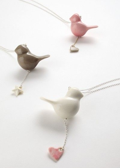 Bird necklace - Glazed porcelain bird with star or heart on a 70 cm silver chain