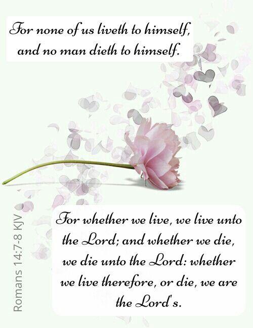 Romans 14:7-8 KJV
