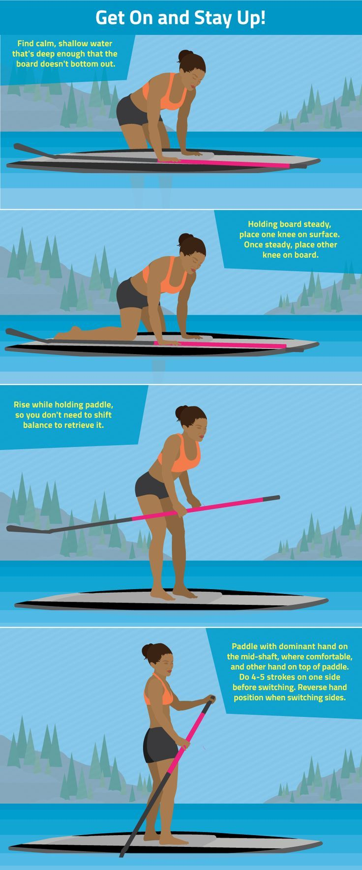 Outdoor travel tips: How to Get on a Stand-up Paddle board | For your rashguard needs, check out www.platinum-sun.com