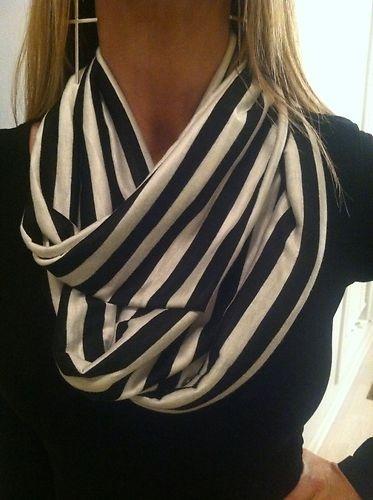 Infinity Scarf Black and White Stripe   eBay