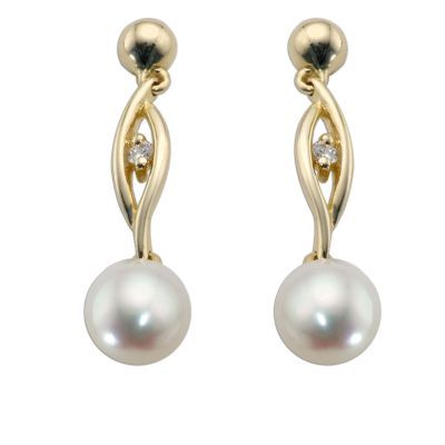 9ct Gold Cultured Freshwater Pearl Swirl Drop Earrings- H. Samuel the Jeweller
