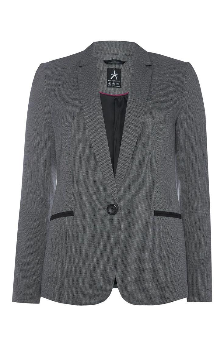 Primark - Grijze blazer met zwarte accenten op de zakken€19,-