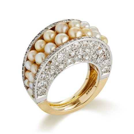 Jojo Grima Yellow Gold Ring set with Natural Pearls and Diamonds. By Jojo Grima, 2014 - Jojo Grima, so gorgeous