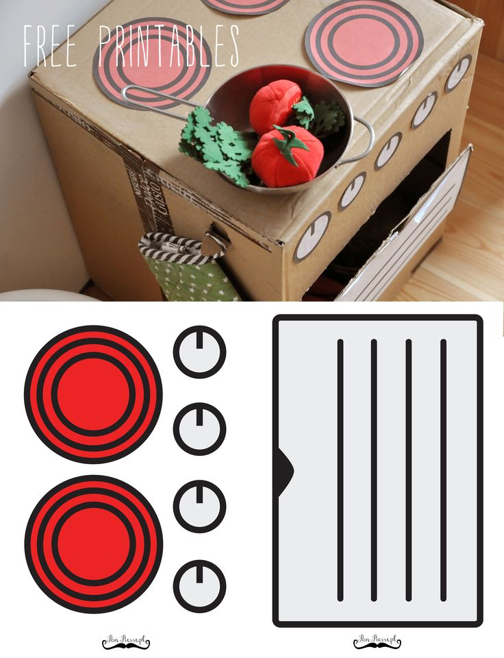Panpierre.pl: DIY, make a play kitchen from cardboard boxes, free stickers, free printables