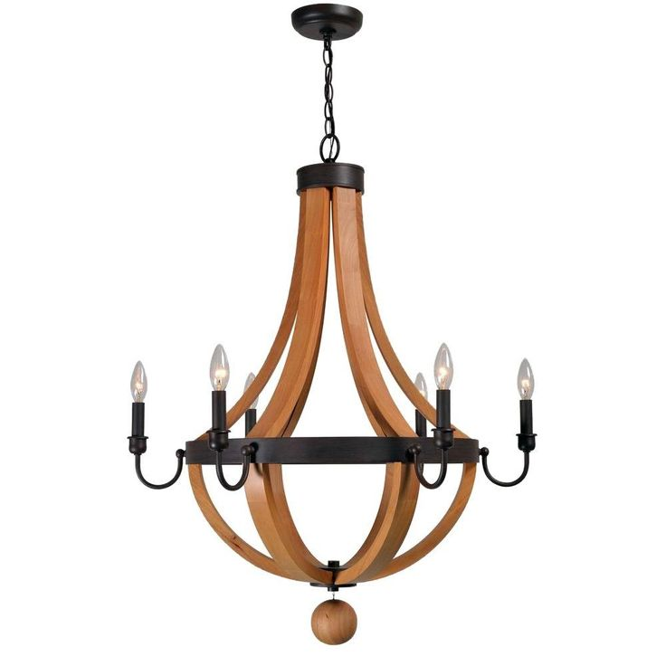 World Imports Taylor Collection 6 Light RustWood Indoor