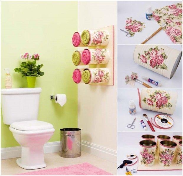Latas decoradas como colgador baño toallas reciclar 13 Creative And Easy DIY Projects For Your Home