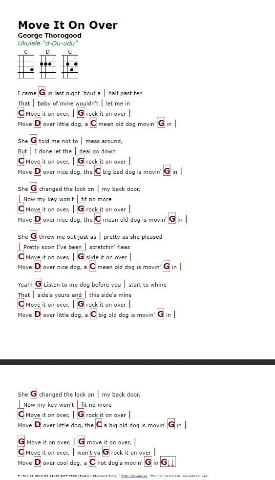 Move It On Over George Thorogood Http Myuke Ca Ukulele Chords Songs Guitar Chords For Songs Song Lyrics And Chords