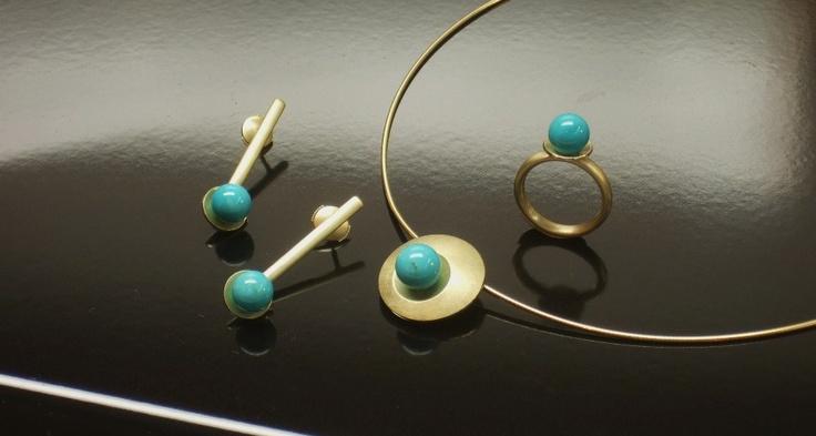 Souprava - náušnice, náhrdelník, prsten - žluté zlato a tyrkys Arizona
