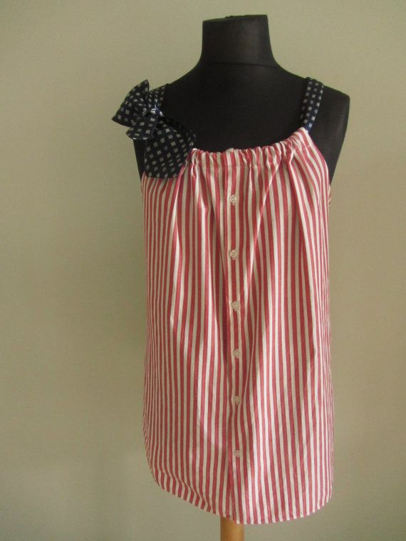 Refashioned Mens Shirt - Faded Red and White Striped Tank Top with Two Necktie Shoulder Straps - Womens Upcycled Clothing - Extra Big & 205 best Sew and Sew images on Pinterest | Sewing ideas Sewing ... pillowsntoast.com