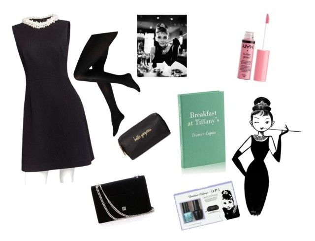 """""""Audrey Hepburn Style Breakfast At Tiffany's"""" by gturza on Polyvore featuring Betsey Johnson, Charlotte Russe, GiGi New York, Tiffany & Co., OPI and Neiman Marcus"""