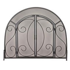 Single Panel Black Wrought Iron Ornate Screen with Doors ...