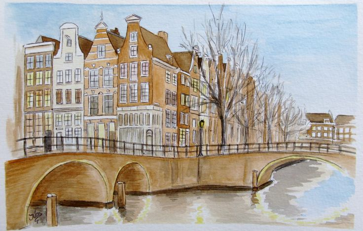 Inge Vos, Amsterdam, aquarel