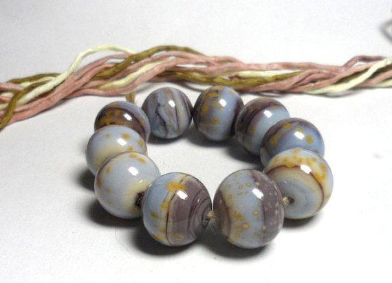 Lampwork. Glass bead handmade. Beads lilac mauve by Glasskaramelka