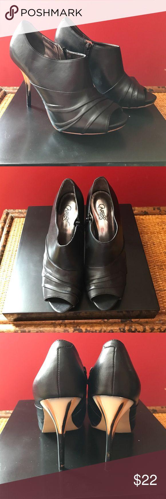 Carlos Santana Heeled Bootie Carlos Santana Black Open-toed bootie with decorative Heel Size 8 Carlos Santana Shoes Ankle Boots & Booties