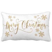 """Merry Christmas Gold-White Pillow - 13"""" x 21"""""""