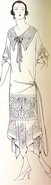 1920s Sewing patterns. Fancy collar and sleeves. Natural and atemporal design