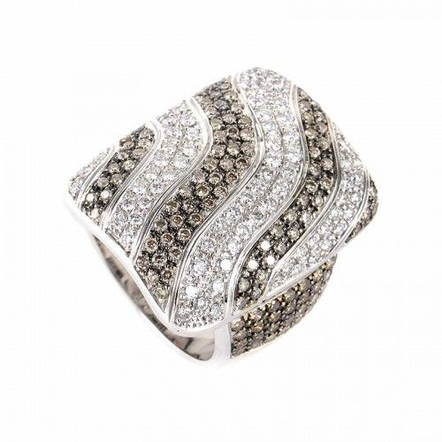 Rings 18K White Gold Cognac & White Diamond Stripe Ring