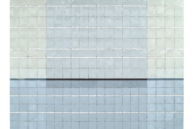 "Breaker With Rain; oil, graphite on panel, 36"" x 48"""