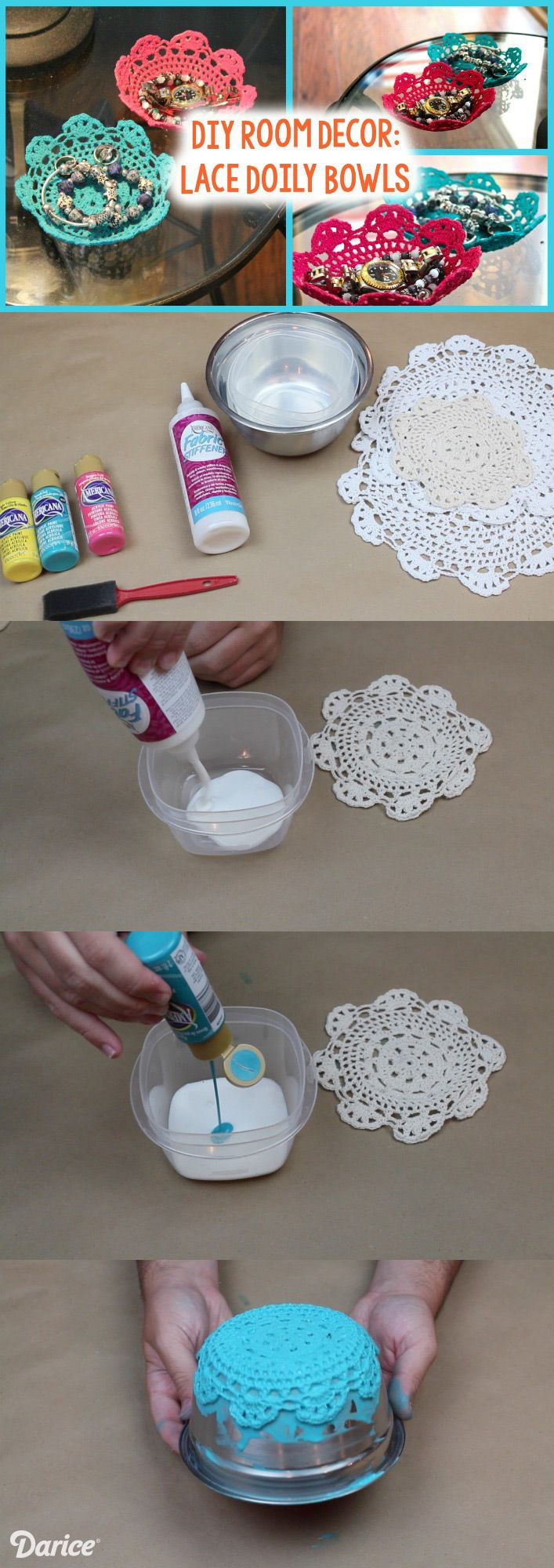 Colorful DIY Lace Doily Bowl Tutorial