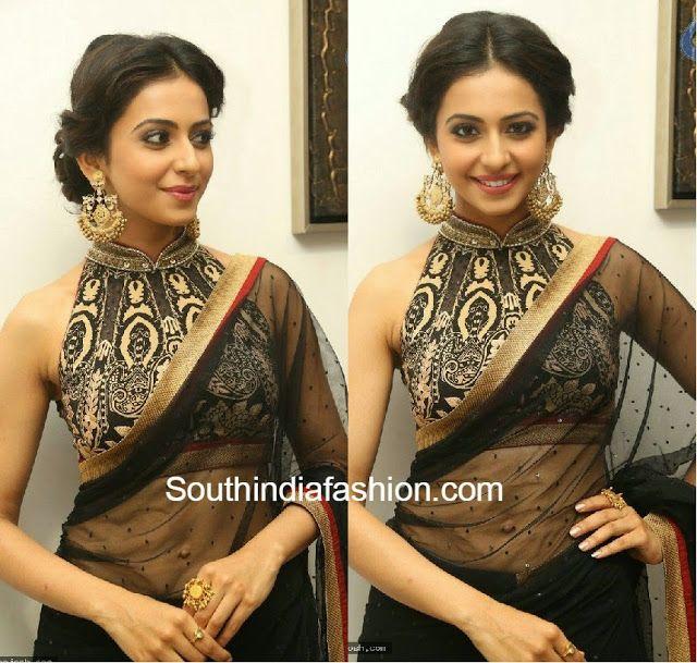 Rakul Preet at Kick2 Audio Function in high-neck halter sari blouse.
