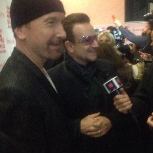 Bono and The Edge from U2 attend Jony and Marc's Sotheby's (RED) auction in New York City on November 23, 2013