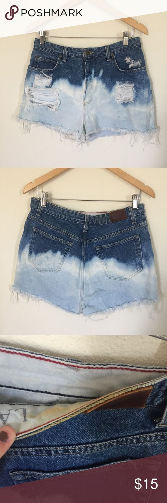 Handmade Distressed Dip Dye Shorts Vintage shorts that I hand distressed and bleached/dip dyed! They have slight discoloration from some self tanner but its mostly on the inside that you cant really see. Super cute! I only wore once myself for 4th of july! Urban Outfitters Shorts