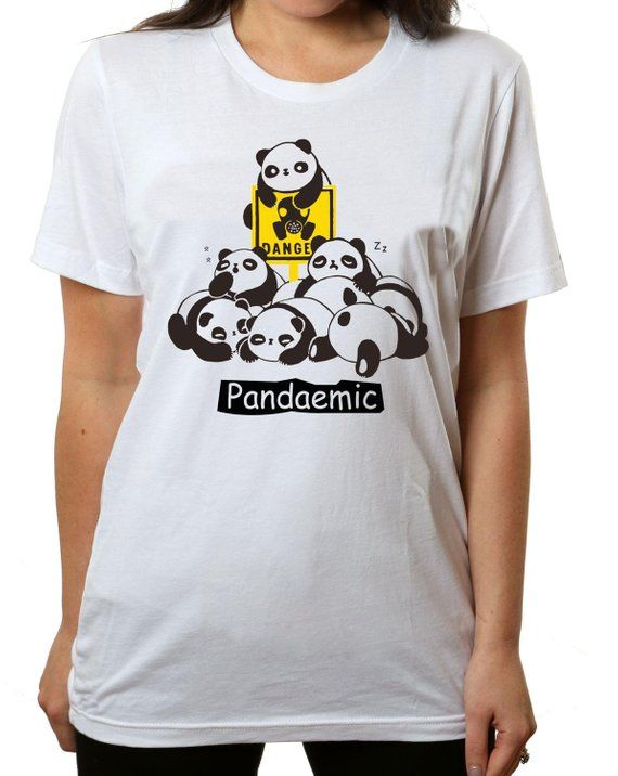 58e529ed0 Pandemic Panda T-Shirt - Cute Ladies Lounge White T-Shirt ...