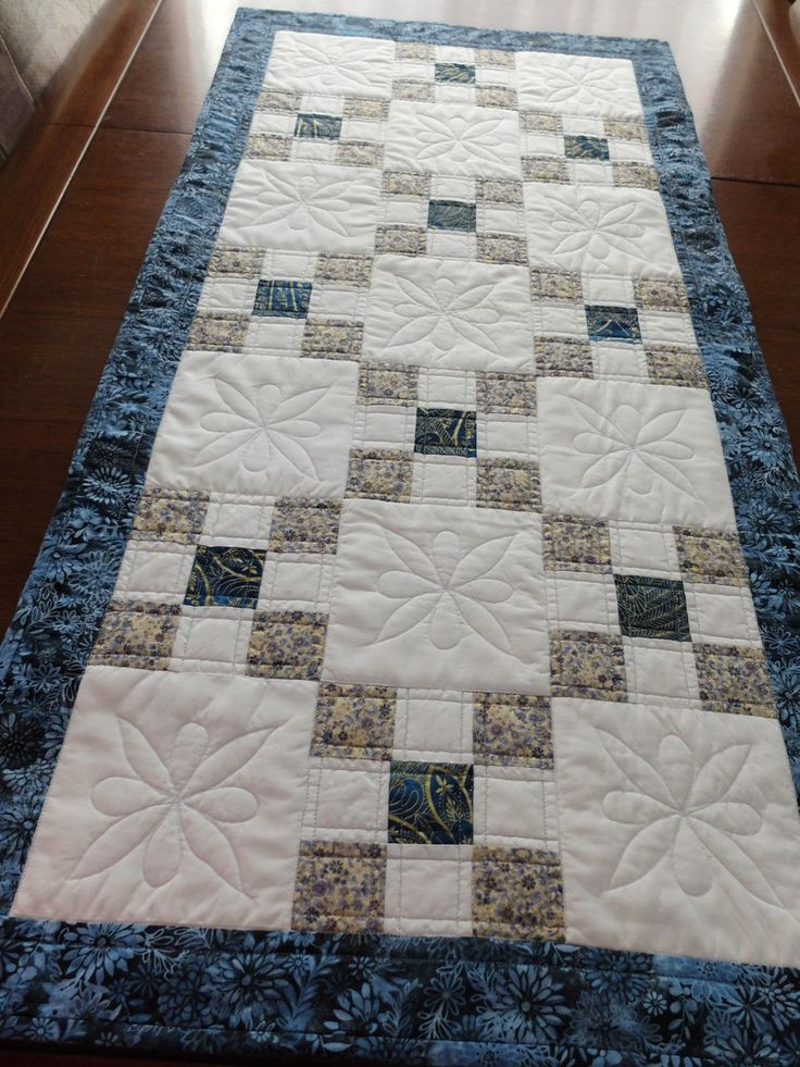 Patchwork quilted table runner, blue gold and white, Irish Chain runner, reversible table topper by StephsQuilts on Etsy