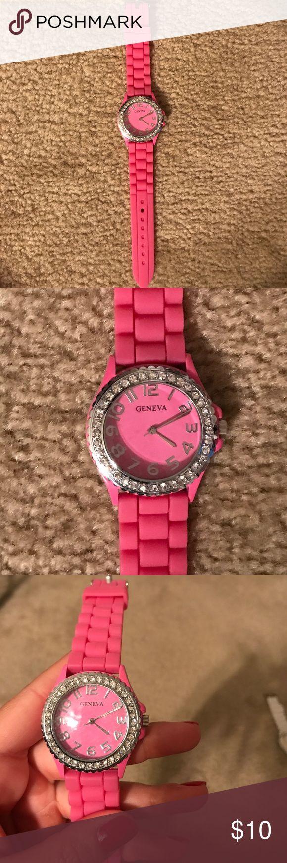 Pink rubber watch Rubber band with diamonds around the watch face Geneva Platinum Accessories Watches