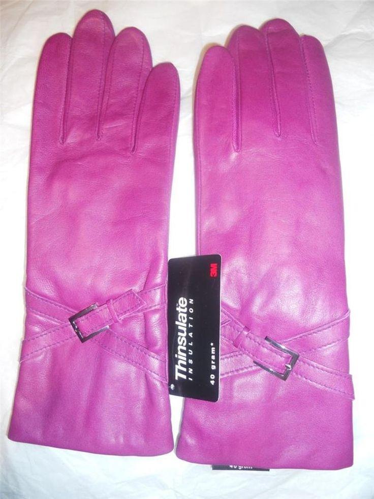 Fuschia Buckle Cuff Genuine Leather Thinsulate Gloves,Medium,Daily Deal #Lauer #WinterGloves