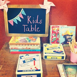cool idea to have a designated kids area - maybe some low kids tables with coloring books, games, etc