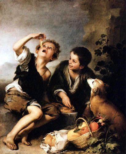 Bartolomé Esteban Murillo (Pérez) - Dos muchachos comiendo una empanadilla