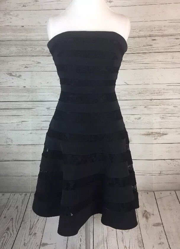 4e548c956aab3 WHBM Strapless Black Floral Lace Dress 4 LBD White House Black Market | eBay